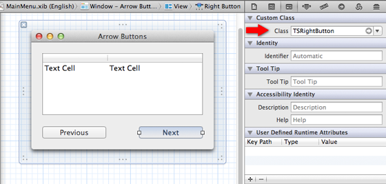 Integrating the Arrow Buttons in Xcode